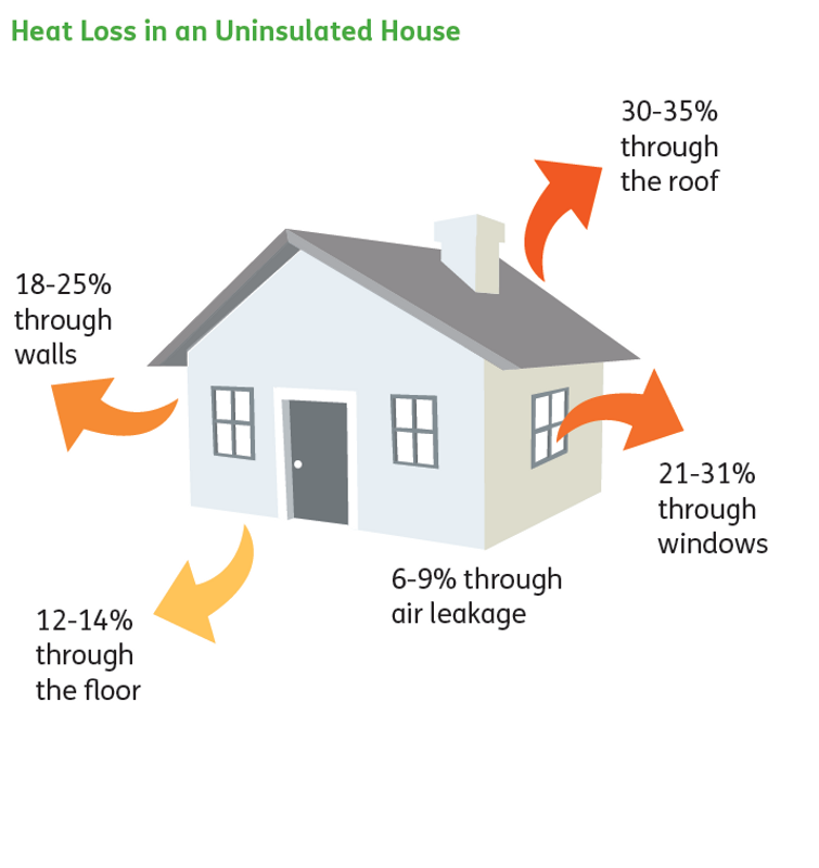 Heatloss in uninsulated house graphic