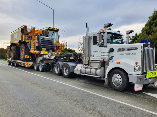 Cat 773G being transported to Macraes