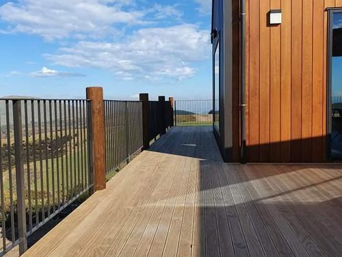 Modern decking design with great balustrade