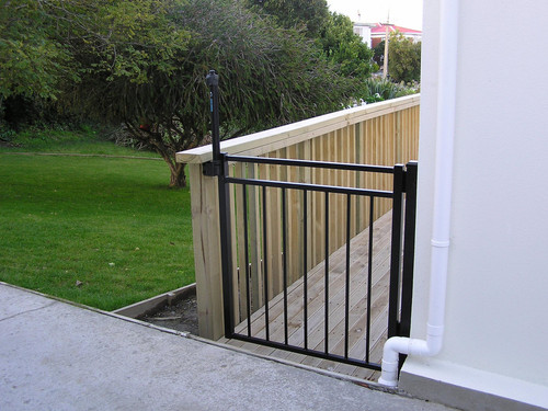 Child safety gate on balcony area