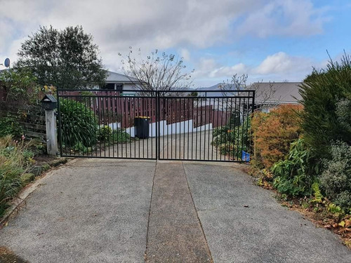 Modern black automatic gate