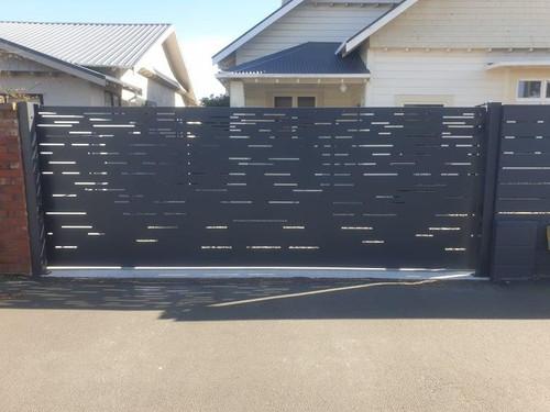 Lazer cut out steel driveway gate