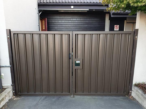 Solid metal automatic security gate