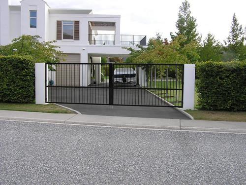 Modern black metal gate
