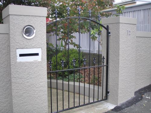 Modern black wrought iron gate