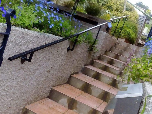 Outdoor metal handrail on stairs