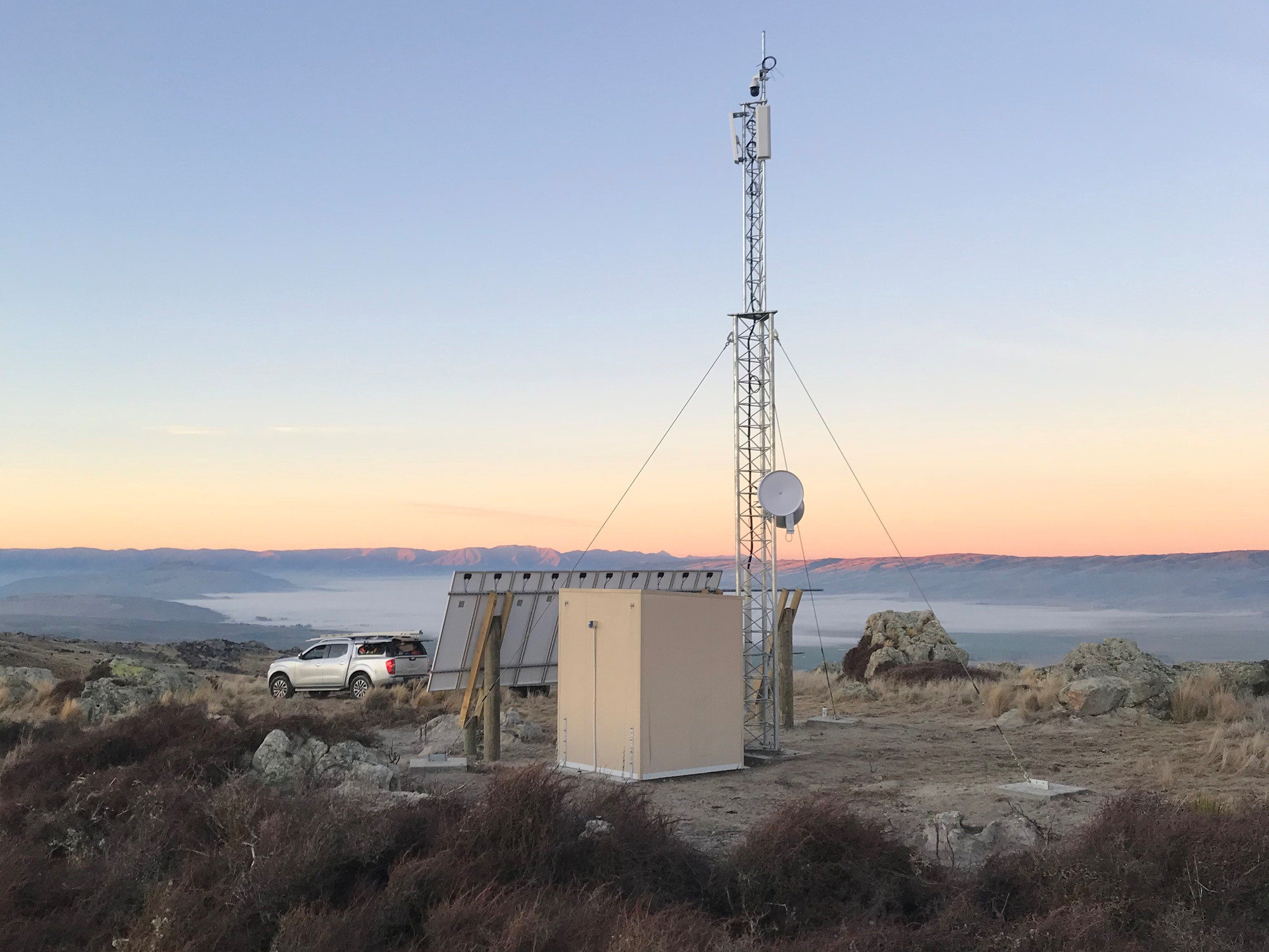 The Moa Creek repeater installed by Unifone near Omakau to increase internet coverage in the region