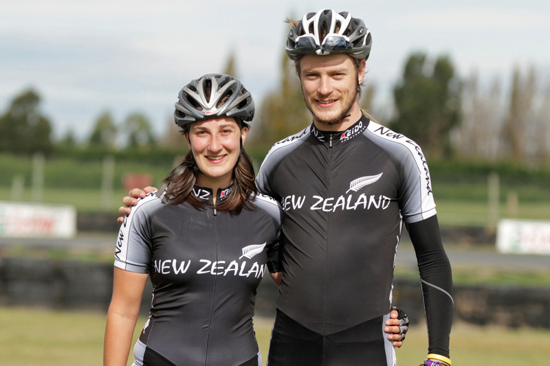 Samantha and her brother, Peter Michael.  Photo was taken at Levels racetrack, Timaru, in April 2012.  Samantha and Peter had just completed racing the 42km marathon in the Oceania Champions against competitors from New Zealand, Australia, Germany and Indonesia. Peter won the mens race and Samantha placed second in the womens race.