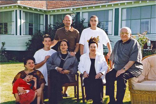Pauline and Tom Farry with family