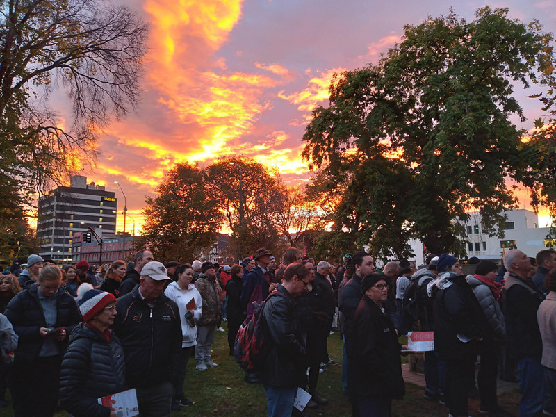 The ghostly silhouette gave way to a magnificent sunrise less than an hour later at the ANZAC dawn service in Dunedin.