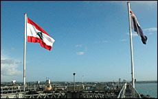 Lebanon's flag flies from Auckland Harbour Bridge to celebrate Lebanon's 62nd Independence Day, back in 2005.