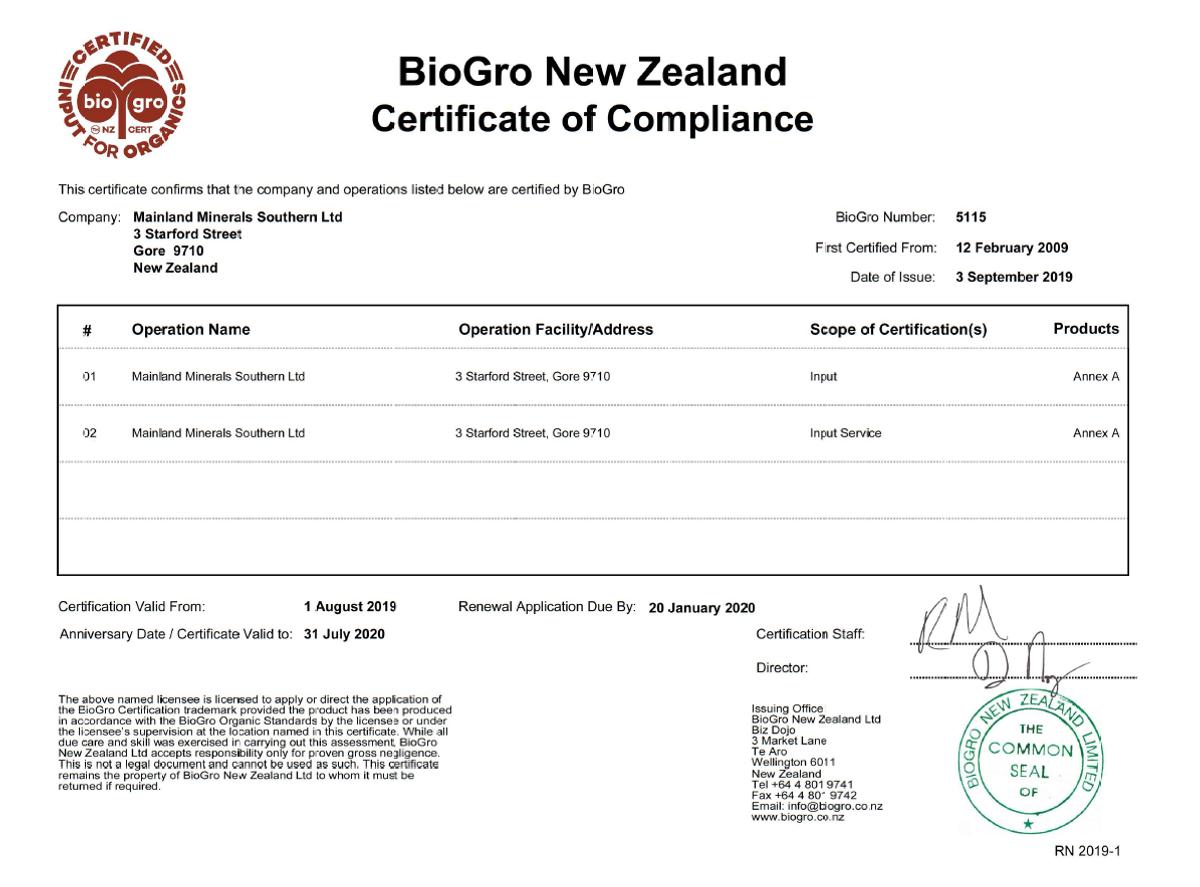 BioGro Certification