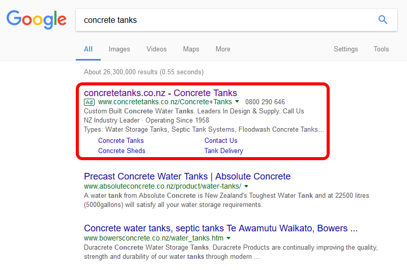 "Google Ads advert for our client Burford Tanks targeting the key phrase ""concrete tanks"""