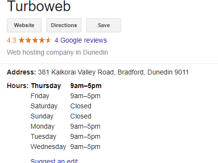 Turboweb hours Google My Business