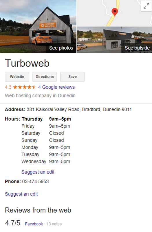 Turboweb hours Google My Business