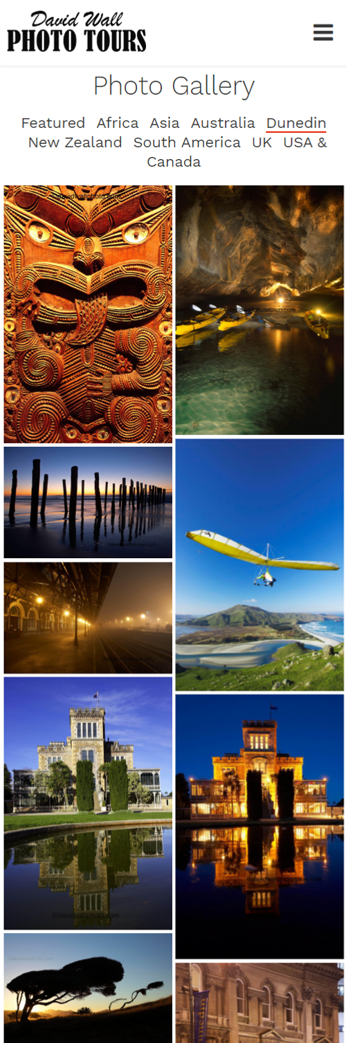 David Wall Photo Tours mosaic image gallery by Turboweb looks great on mobile devices
