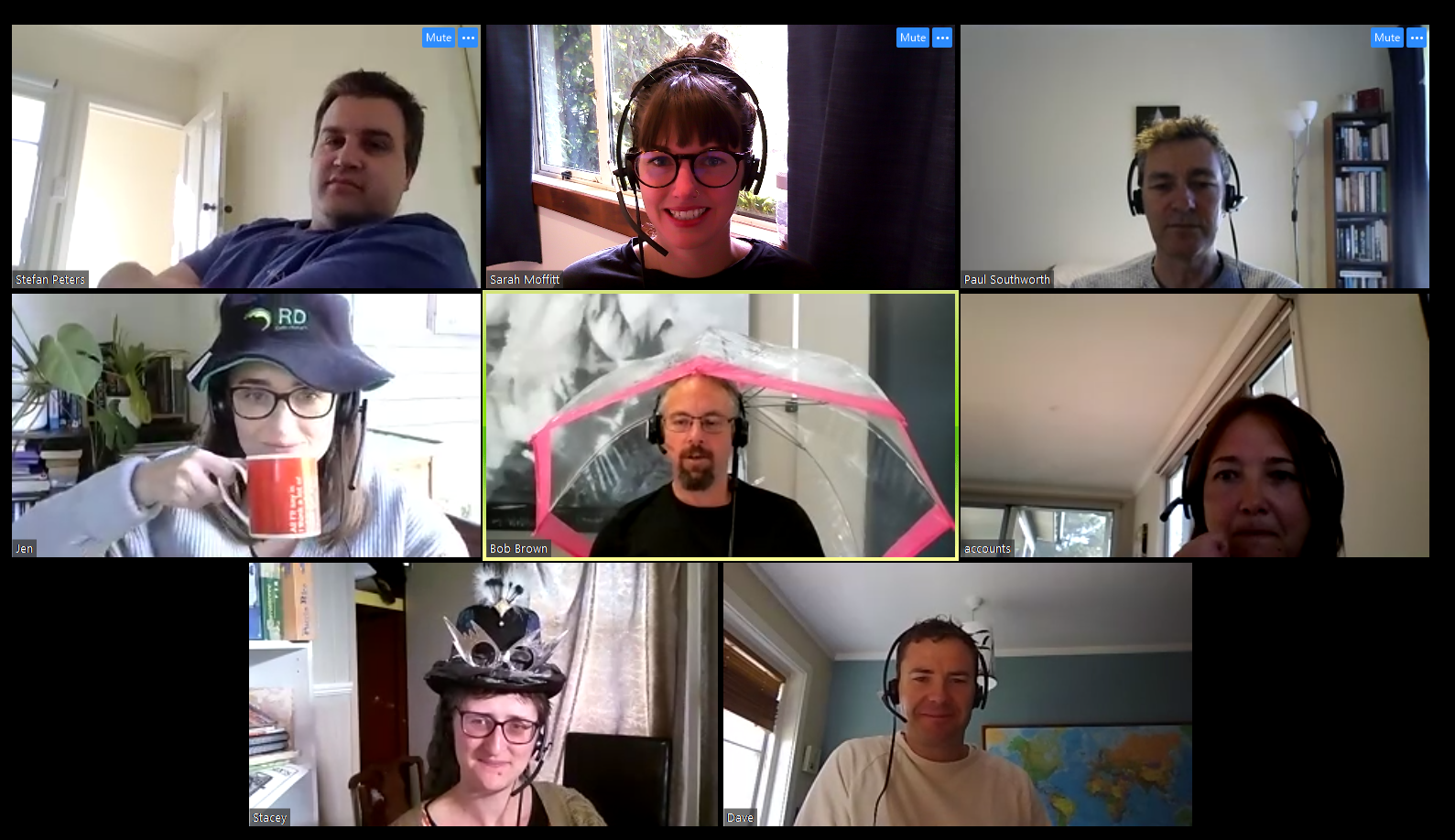 The Turboweb team have their daily roundup meeting on Zoom