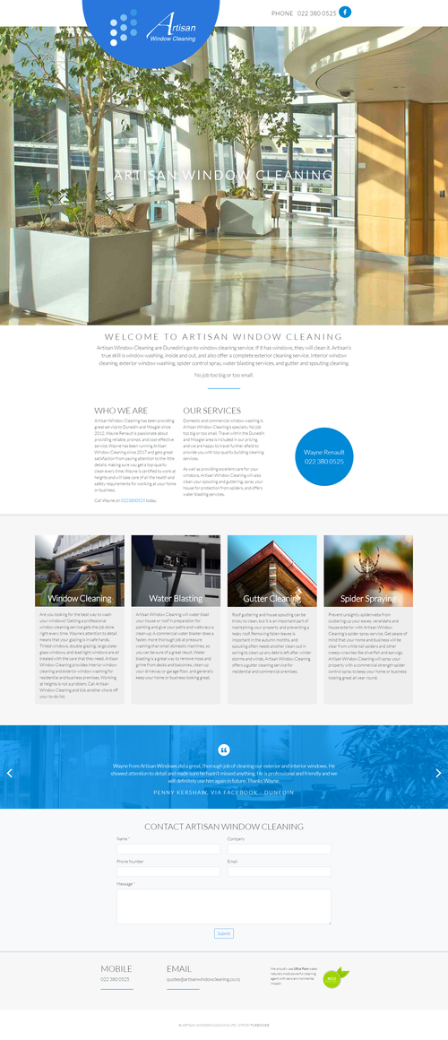 Artisan Window Cleaning's new website from Turboweb