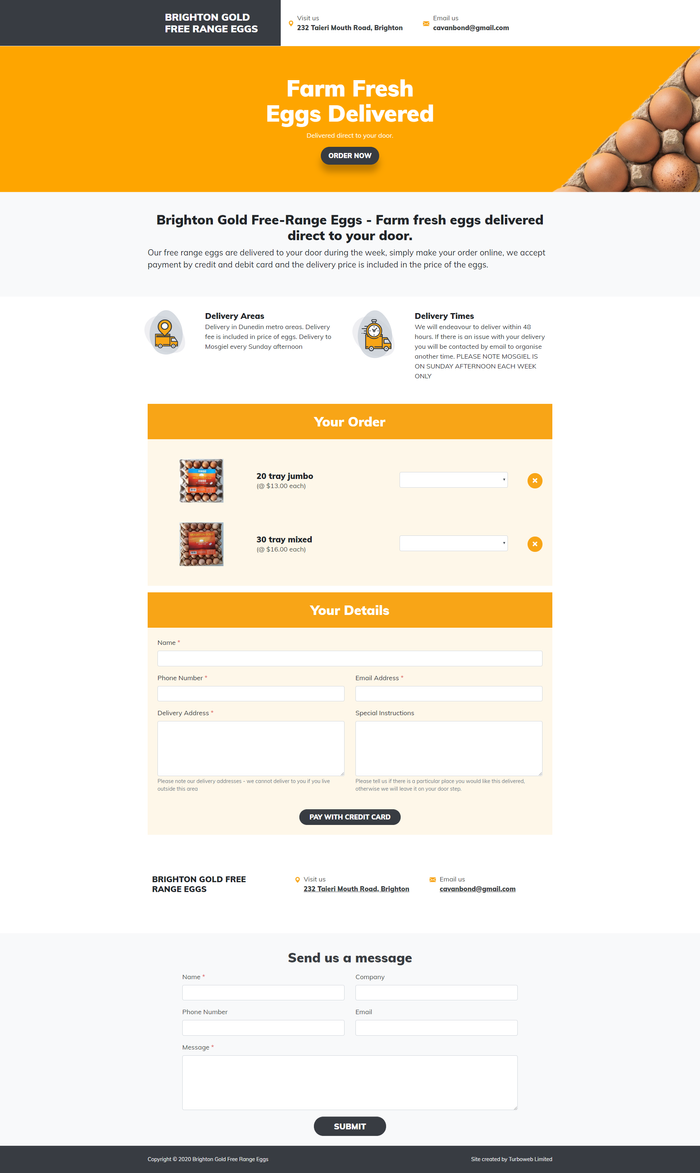 Turboweb SinglePage website for Brighton Gold eggs