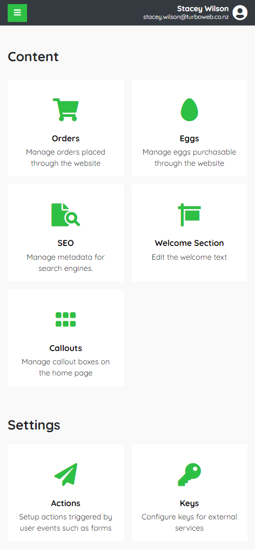 Turboweb's admin dashboard is mobile friendly