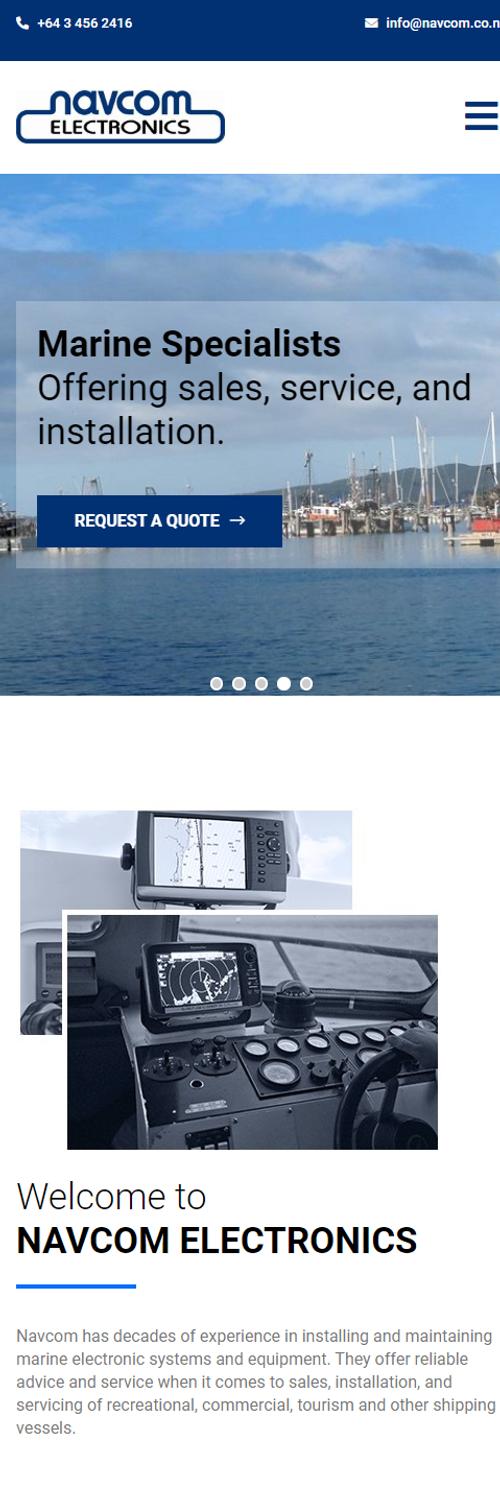 Navcom Electronics marine specialists Dunedin New Zealand. Website by Turboweb.