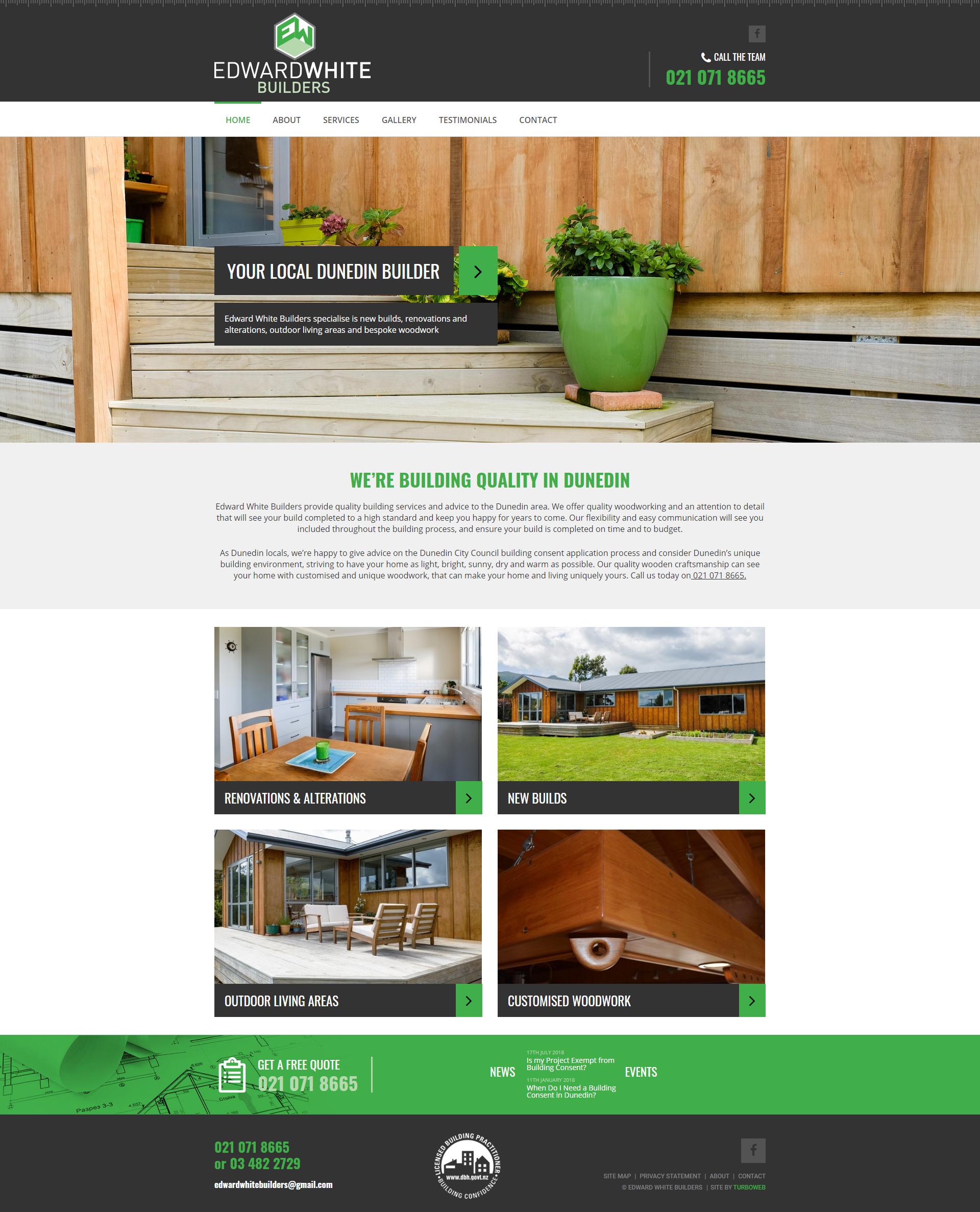Edward White Builders website homepage