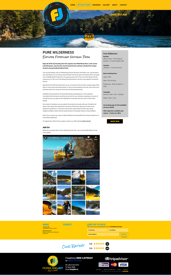 Fiordland Jet website booking feature