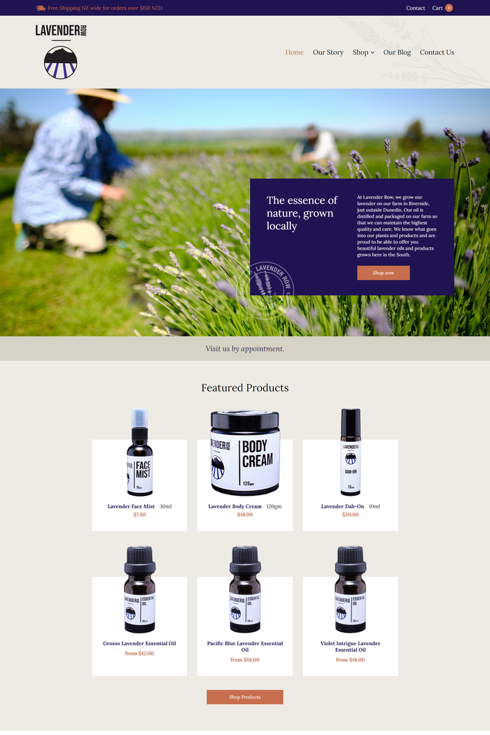Lavender Row website browser view by Turboweb