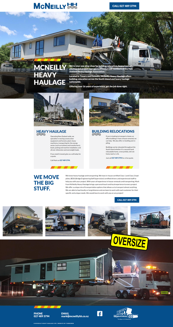 McNeilly Heavy Haulage website by Turboweb