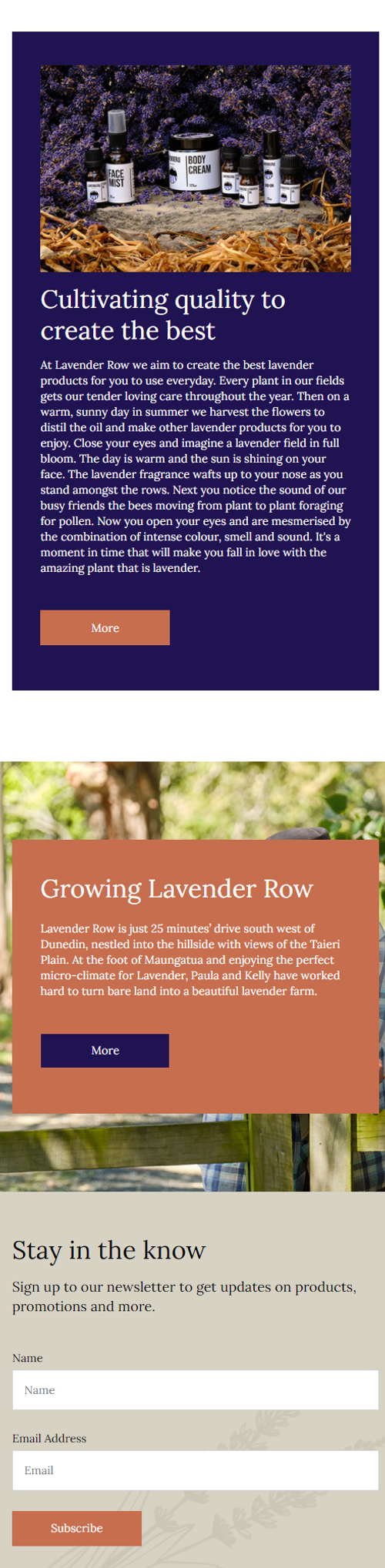Lavender Row website mobile view by Turboweb