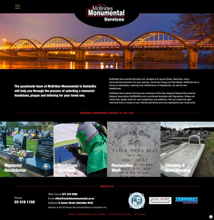 McBrides Monumental Services website by Turboweb