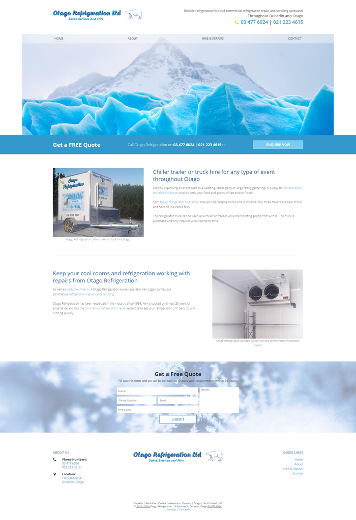 Otago Refrigeration website by Turboweb