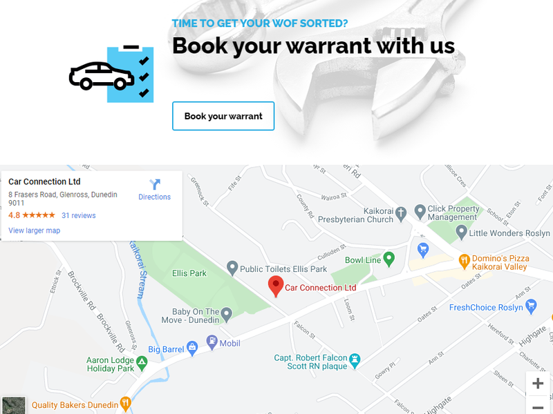 Car connection website by Turboweb - Book your warrant button