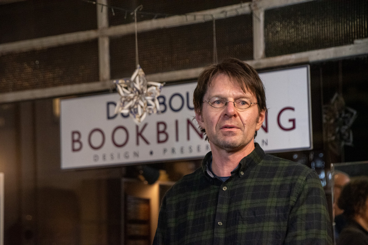 Bookbinder David Stedman, of Dutybound. Photo by Izumi Schmidt.