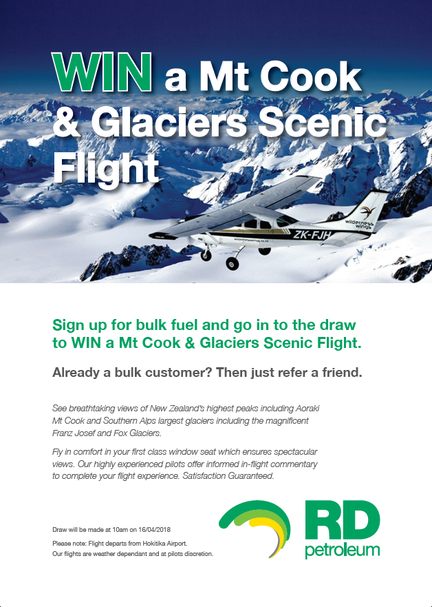 RD Petroleum are giving one lucky person two tickets on a scenic flight over Mt Cook, Franz Josef and Fox Glaciers