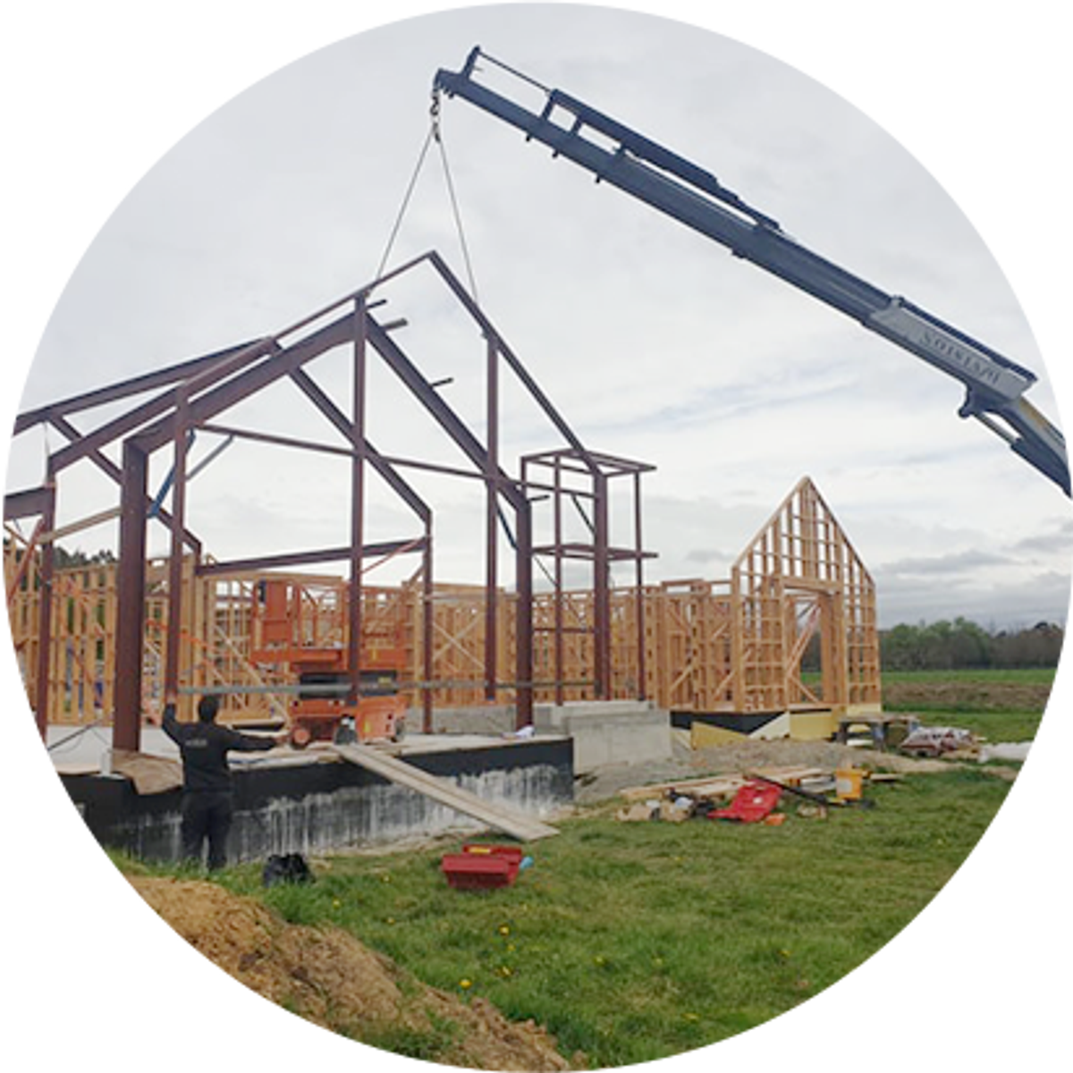 Brendan Falloon Builders installing a structural steel frame in Canterbury
