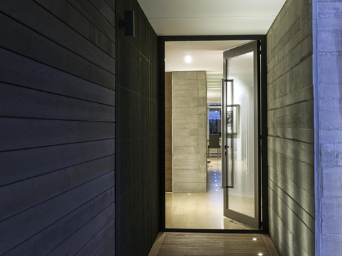 Cedar, concrete and timber floors are featured throughout