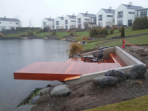 A large cantilevered platform over the water
