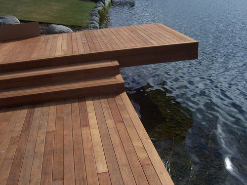 The lakefront deck is an inviting spot