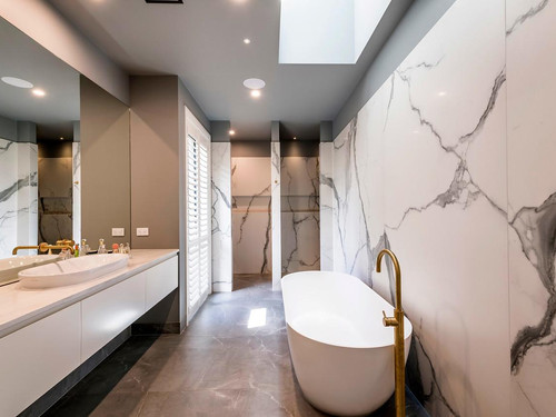 The Ohoka bathroom features extensive use of marble