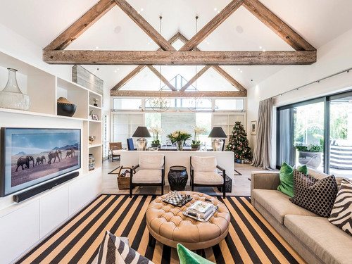 Canadian Oregon exposed rafters in the formal sitting room