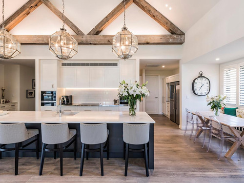 The kitchen featuring exposed rafters in Canadian Oregon