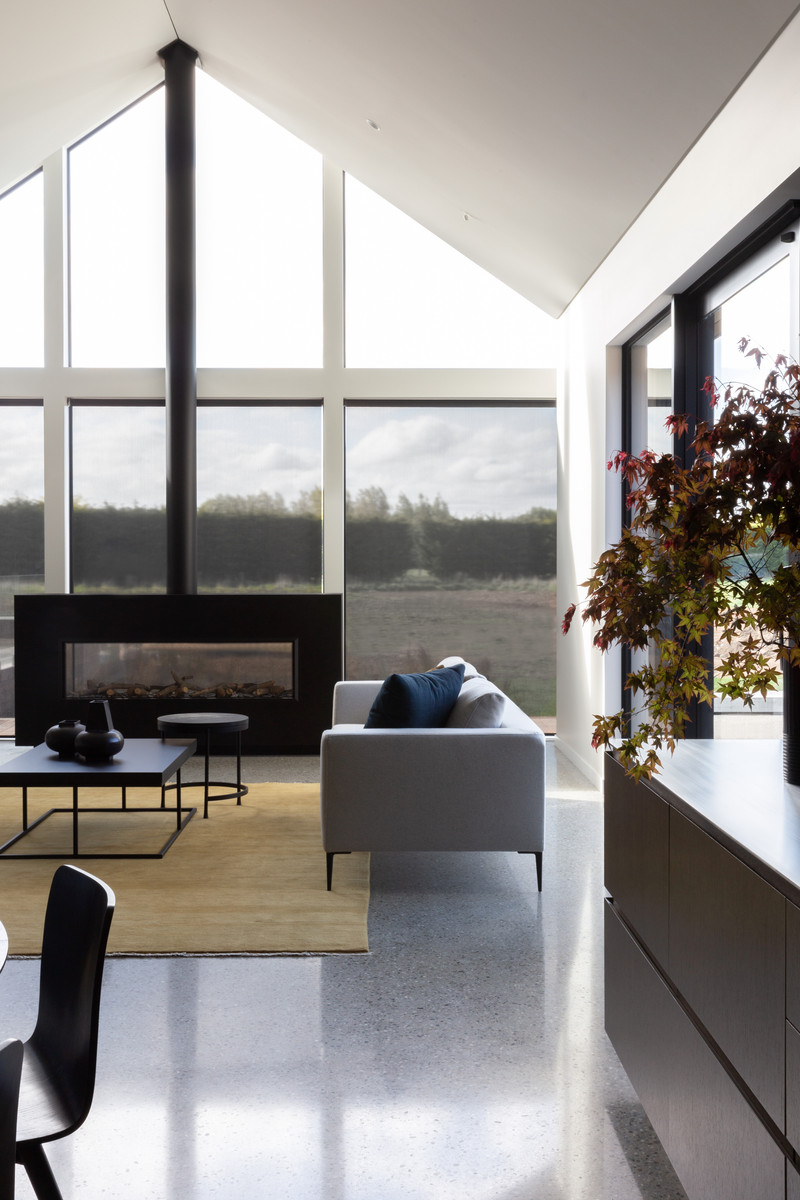 The full height feature glass gable brings light in