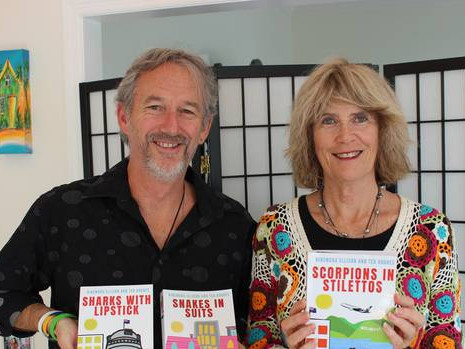 Writers Ted D Hughes and Hinemura Ellison with their Trinity Trilogy