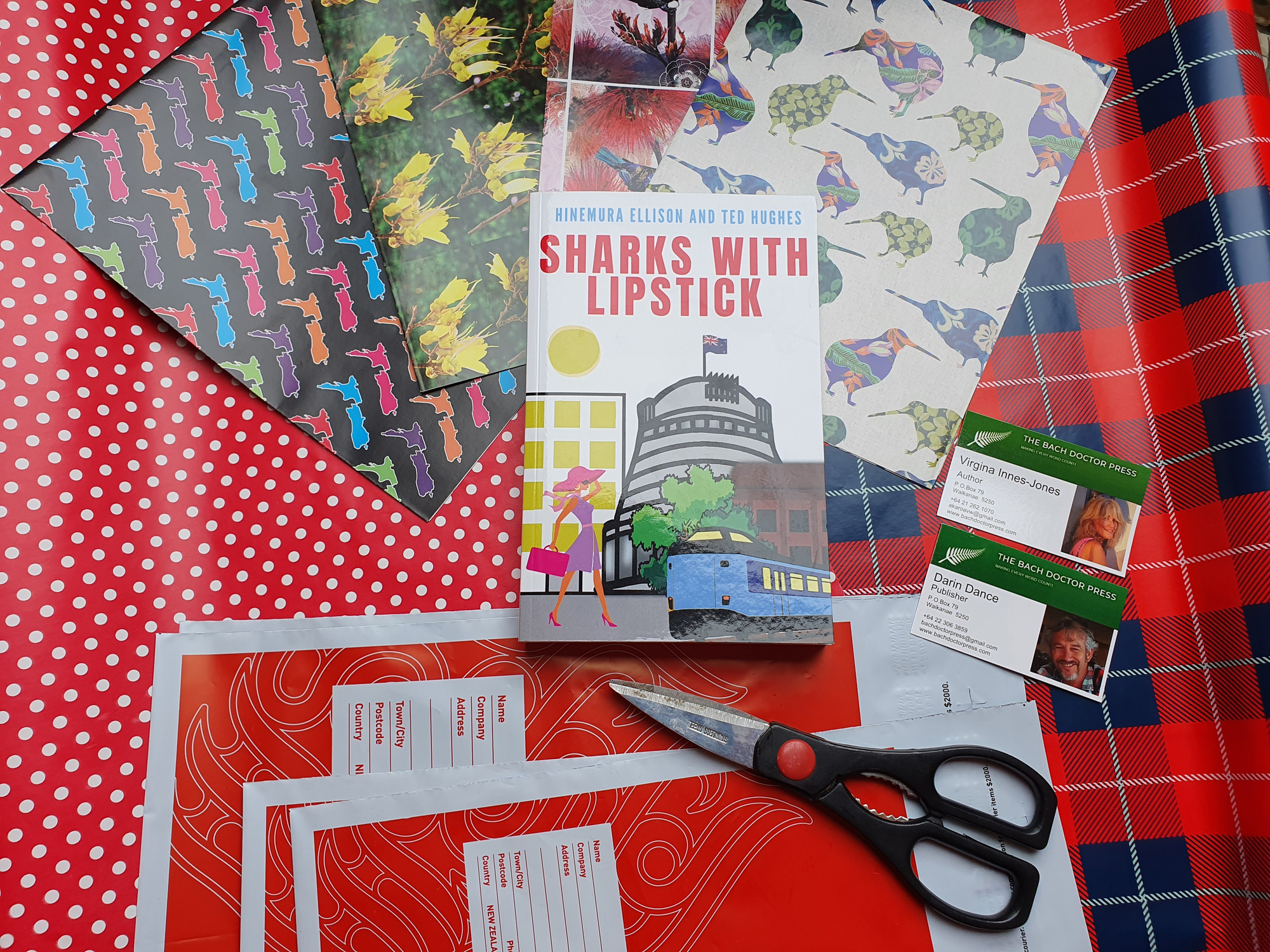 A range of colourful and Kiwi themed wrapping paper