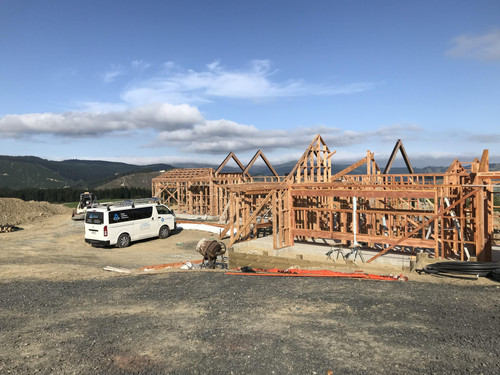 The basic new home structure going up