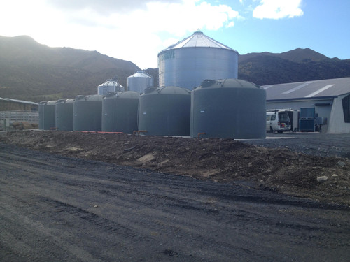 Water tanks at the dairy shed