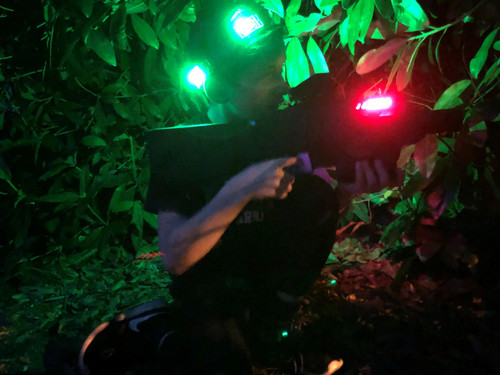 A night time game of Battle Combat laser tag