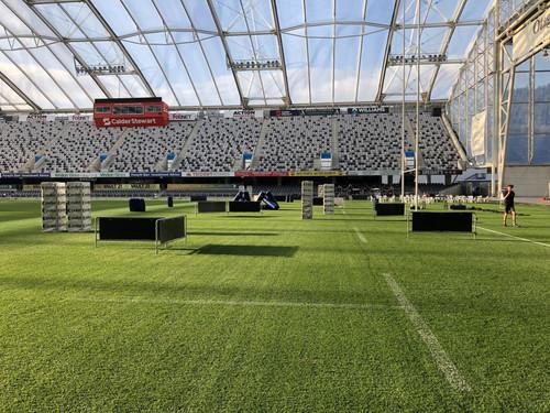 Forsyth Barr Stadium all set-up for an epic game of Battle Combat laser tag!