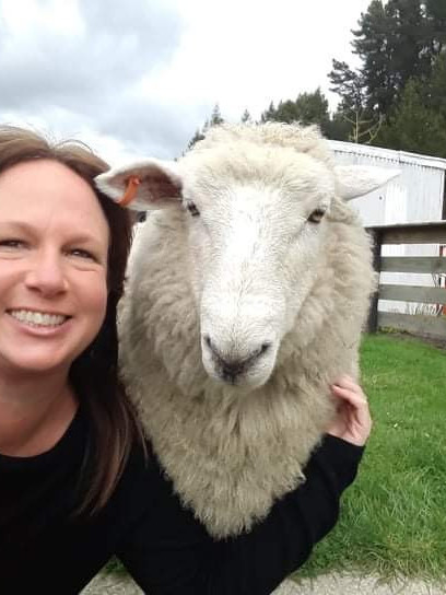 Caroline (Cab) Chapman Administration at Bays Boating with her pet sheep